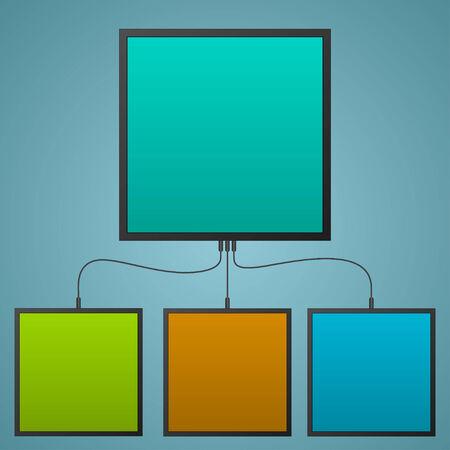 �cran plat: infographie �cran comme plat de couleur fonc�e
