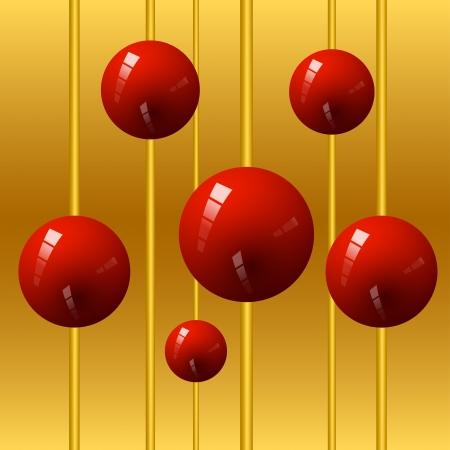 red sphere: 3d sfera rossa sul tubo oro