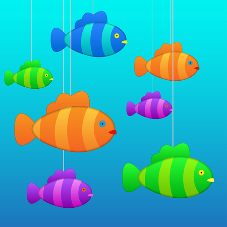 purpule: fish in water on the ropes different colors Illustration