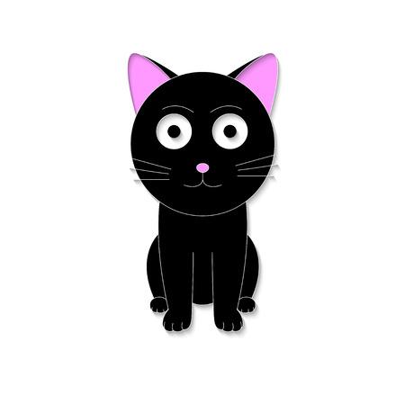 fortune cat: Black 3D cat  Illustration