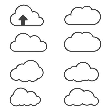 Cloud iconen voor cloud computing voor web en app