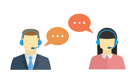 Male and female call center avatar icons with a faceless man and woman conceptual of client services and communication Çizim