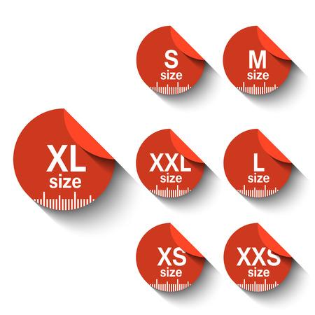 Size clothing labels.Flat design style Illustration