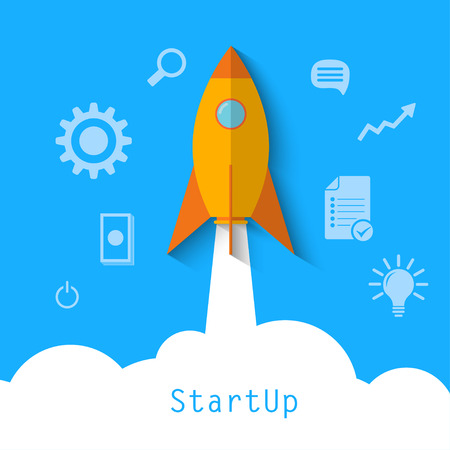 new start: modern vector illustration concept for new business project startup, launching new product or service