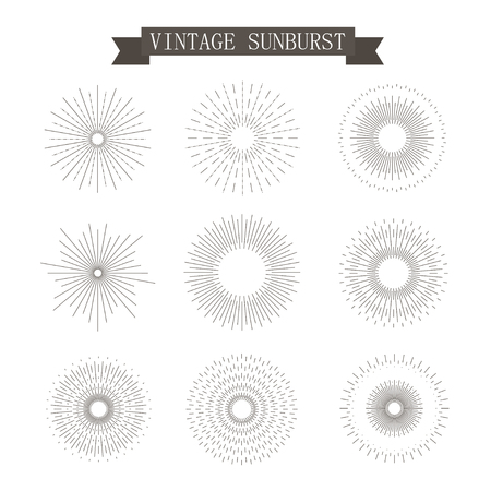 ray of light: Set of Vintage Sunbusrt. Geometric Shapes and Light Ray Collection. Hipster Style Frames. Illustration