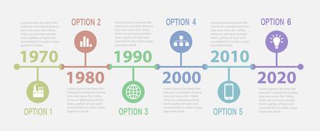 Retro Timeline Infographic Vectores