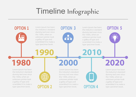 Retro Timeline Infographic Vettoriali