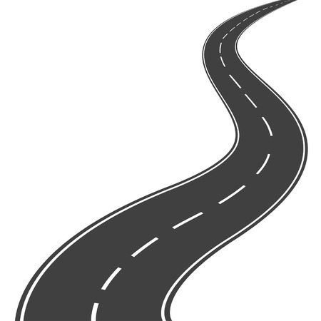 Winding asphalt road with markings leading into the distance on a white background.