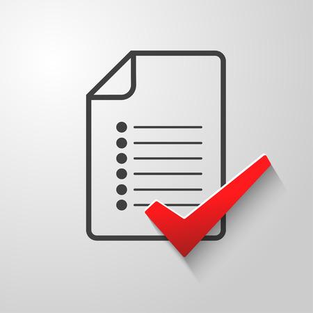 control de calidad: Lista de control conceptual de un cuestionario de control de calidad de la encuesta tasks.Abstract ilustraci�n Vectores