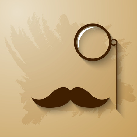 hipster mustache: Hipster mustache and monocle illustration Illustration