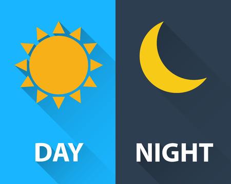 dia y noche: día y noche, ilustración, diseño plano Vectores