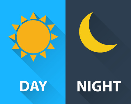 long night: day and night illustration flat design