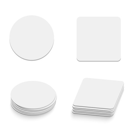 tables: Blank round and square table coasters template isolated on white background