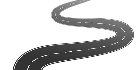 Kronkelende asfaltweg met markeringen leidt in de verte op een witte achtergrond. Vector illustratie
