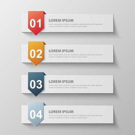 nombres: Design template propre pour banderoles num�rot�es, des infographies, pr�sentation graphique ou site web. Vector illustration.