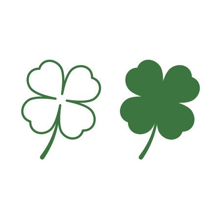leaf line: Leaf clover icons. Saint patrick symbol. Flat and line design style. Ecology concept. Illustration