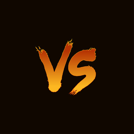 versus: Symbol competition VS vector illustration.