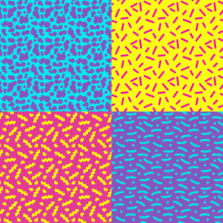 memphis: Set of seamless abstract geometric pattern in retro memphis style Illustration