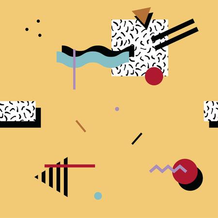 Naadloos abstract geometrisch patroon in retro Memphis stijl, mode 80-90s. Het kan worden gebruikt bij het drukken, website achtergrond en stoffenontwerp.