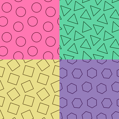 graphic print: Set of seamless abstract geometric pattern in retro memphis style Illustration