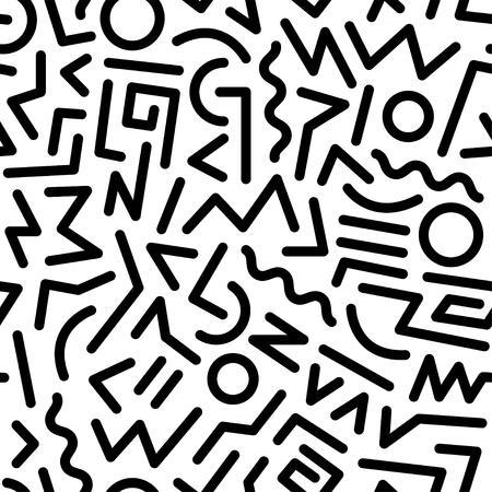 moda: Abstrato teste padrão geométrico sem emenda da forma 80-90s. Ele pode ser utilizado na impressão, o site fundo e design do tecido. Ilustração