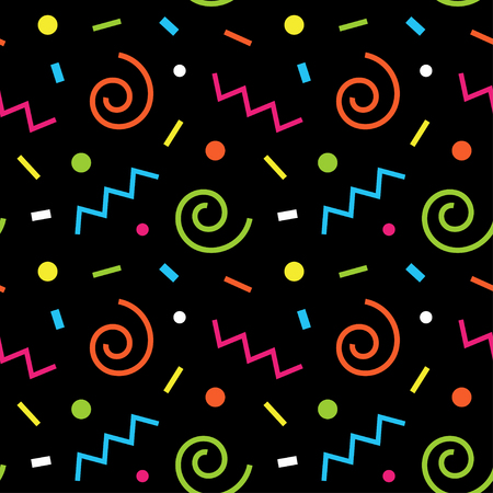nineties: Seamless abstract geometric pattern fashion 80s-90s. It can be used in printing, website background and fabric design.