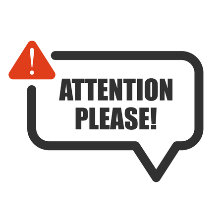 Attention please, important message badge or banner on isolated background. Vector.
