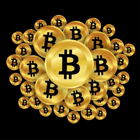Gold bitcoins on dark background. digital currency, futuristic digital money, technology worldwide network concept. Vector illustration. Vettoriali