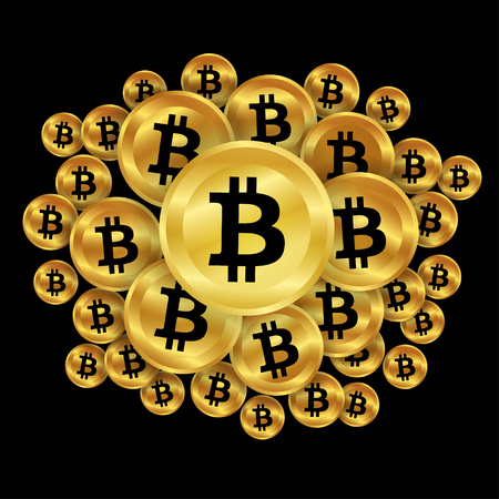 Gold bitcoins on dark background. digital currency, futuristic digital money, technology worldwide network concept. Vector illustration.
