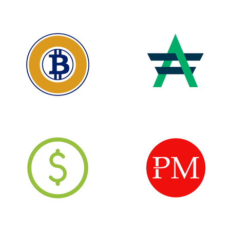 Digital currency logo set - dollar, bitcoin gold, advcash, perfect money. Cryptocurrency. Vector.