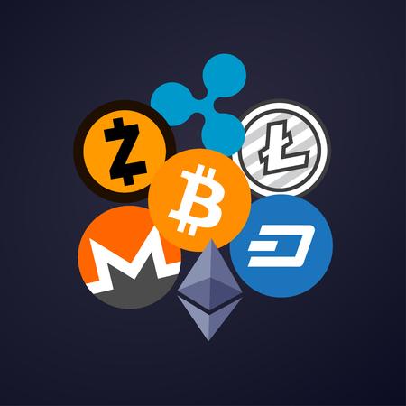 Cryptocurrency op blauw-donkere achtergrond, digitale munt, futuristisch digitaal geld, concept van het technologie het wereldwijde netwerk. Vector illustratie.