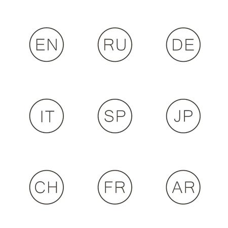 Stel de taal van de pictogrammen in - Engels, Russisch, Spaans, Japans, Chinees, Duits, Arabisch, Italiaans. Vector. Stock Illustratie