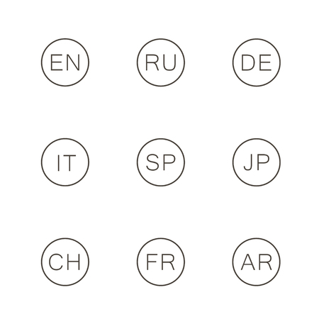Set icons language - english, russian, spanish, japanese, chinese, german, arabic, italian. Vector.