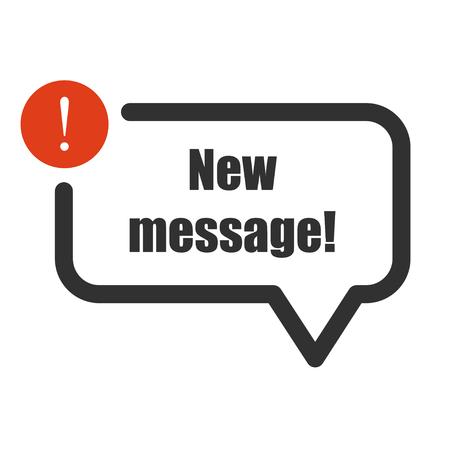 New message illustration for badge or banner. Vector. Vettoriali