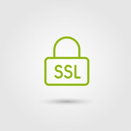 Ssl-pictogram, HTTPS-protocol, veilig surfen. Lijn en plat trendy ontwerp. Vector.