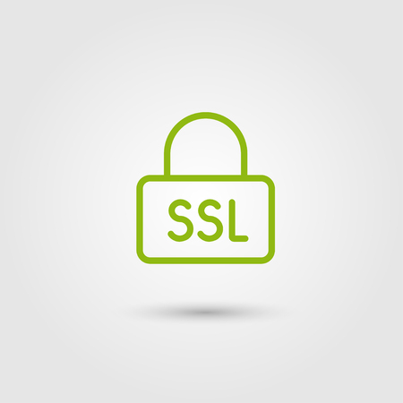 Ssl icon, HTTPS protocol, safe and secure browsing. Line and flat trendy design. Vector.