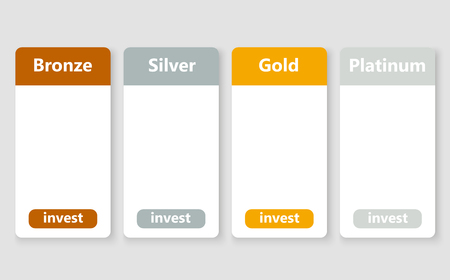 Banners for choice investment package. Vector illustration.