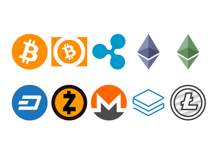 Cryptocurrency logo set - bitcoin, bitcoin cash, litecoin, ethereum, ethereum classic, monero, ripple, zcash, dash, stratis Illustration