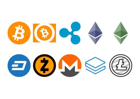 Cryptocurrency logo set - bitcoin, bitcoin cash, litecoin, ethereum, ethereum classic, monero, ripple, zcash, dash, stratis Vettoriali