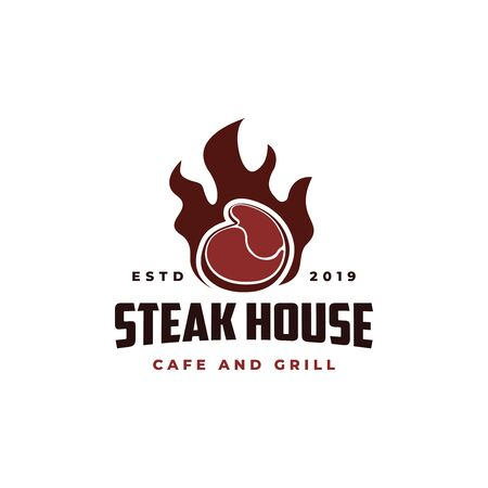beef meat on fire Vintage Retro Cafe Bar logo design Illustration