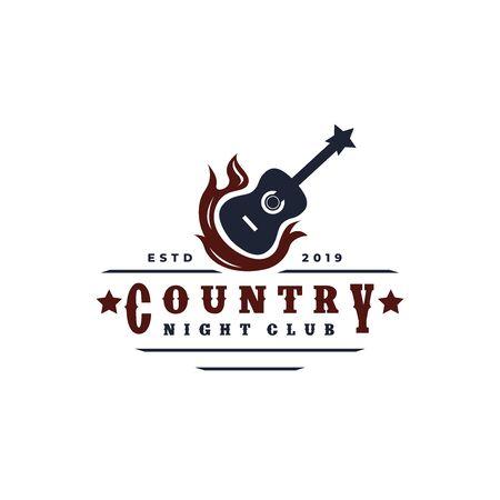 Guitar on fire Country Music Western Vintage Retro Saloon Bar Cowboy logo design