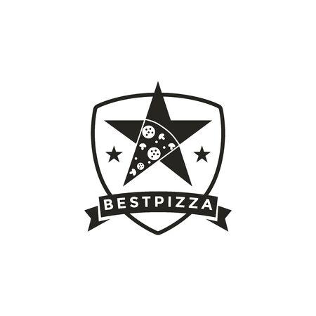 Vintage retro seal emblem logo of pizza and star Stockfoto - 129902201