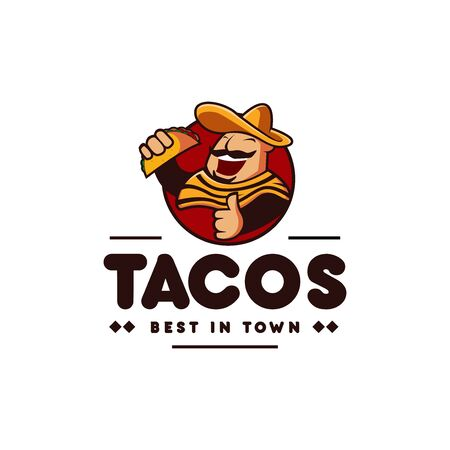 sombrero hat mexican holding tacos mexican restaurant logo mascot hipster vintage retro character cartoon illustration