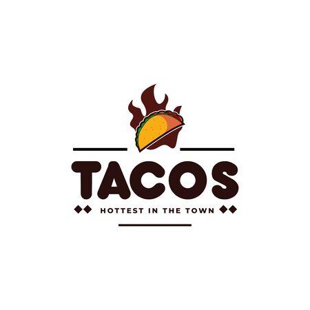 Tacos y fuego, emblema de restaurante mexicano hot taco hipster vintage logo