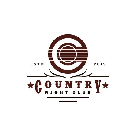 Guitar Country Music Western Vintage Retro Saloon Bar Cowboy logo design