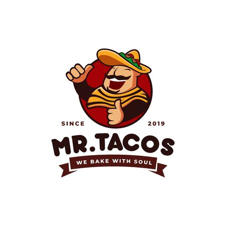 sombrero hat tacos mexican restaurant logo mascot hipster vintage retro character cartoon illustration