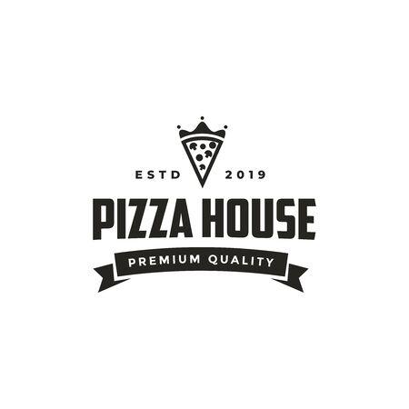 Vintage retro seal emblem logo of pizza and king crown