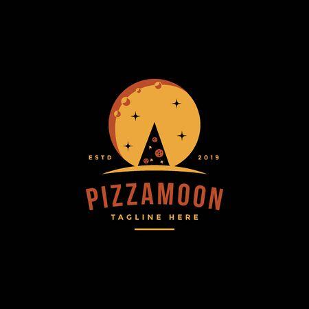 Vintage retro logo of pizza and the moon Stock Illustratie