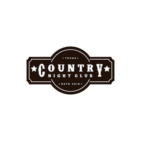 Country Music Western Vintage Retro Saloon Bar Cowboy logo design Иллюстрация