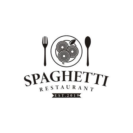 Vintage hipster retro spaghetti pasta noodle logo vector Stock Illustratie
